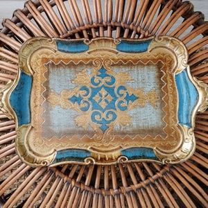 Blue and gold Florentine Tray